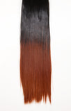 Half Head Dip Dye Straight Heat Resistant Synthetic Hair Extensions Dark Brown / Copper Red #4TT350 - Dolled Up Hair Extensions - 1