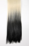 Half Head Dip Dye Straight Heat Resistant Synthetic Hair Extensions Pure Blonde / Darkest Brown #613TT2 - Dolled Up Hair Extensions - 1