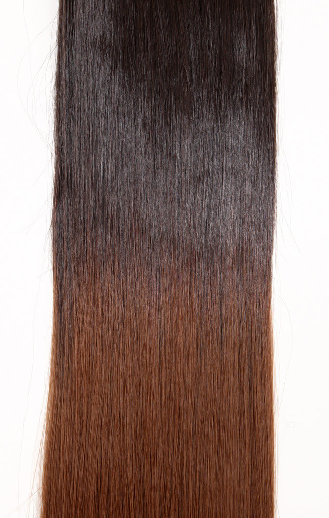 Half Head Dip Dye Straight Heat Resistant Synthetic Hair Extensions Chocolate Brown/Light Auburn #6TT30