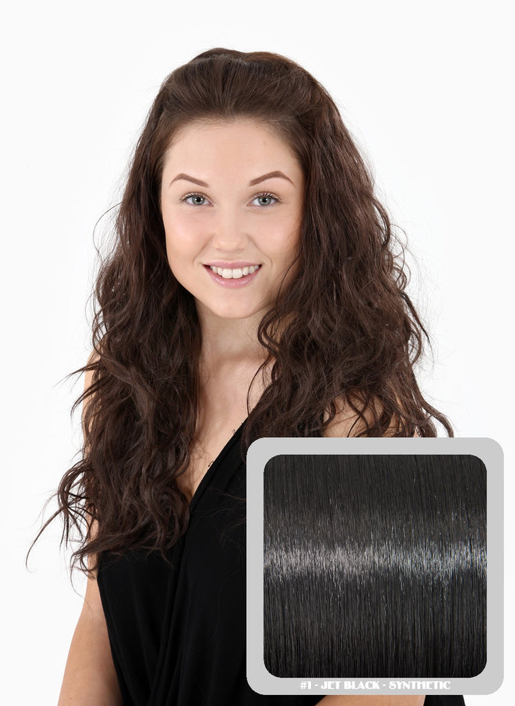 Grace Long Beach Wavy Half Head Wig in Jet Black #1