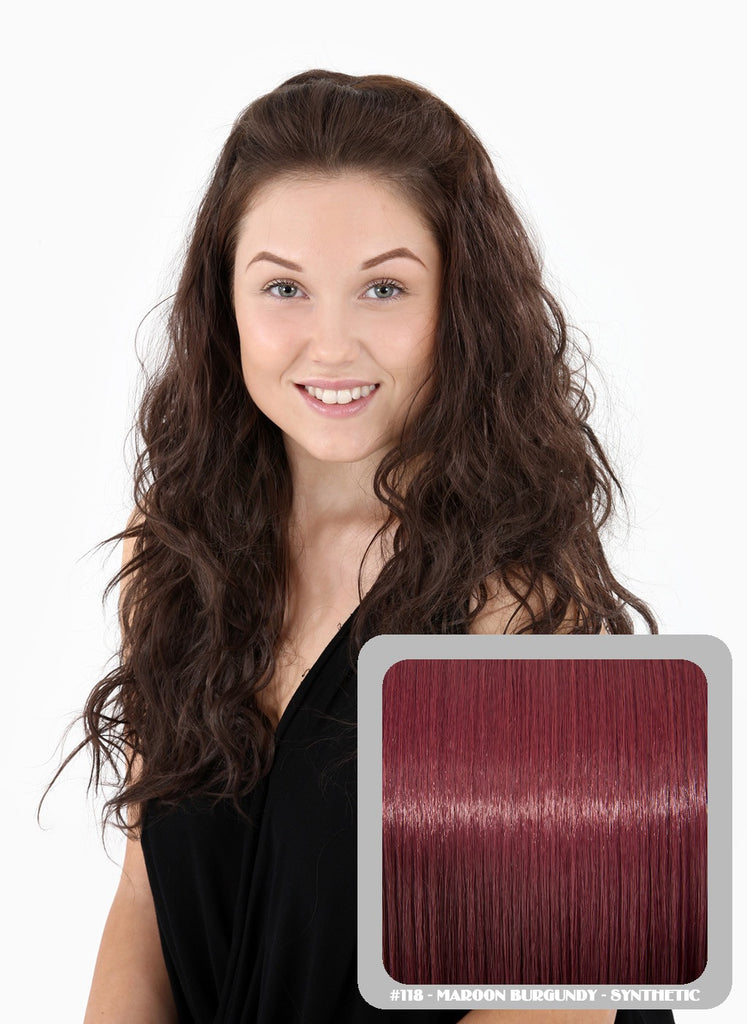 Grace Long Beach Wavy Half Head Wig in Burgundy #118
