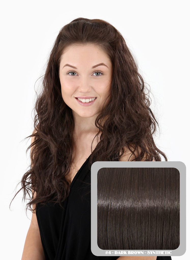 Grace Long Beach Wavy Half Head Wig in Dark Brown #4