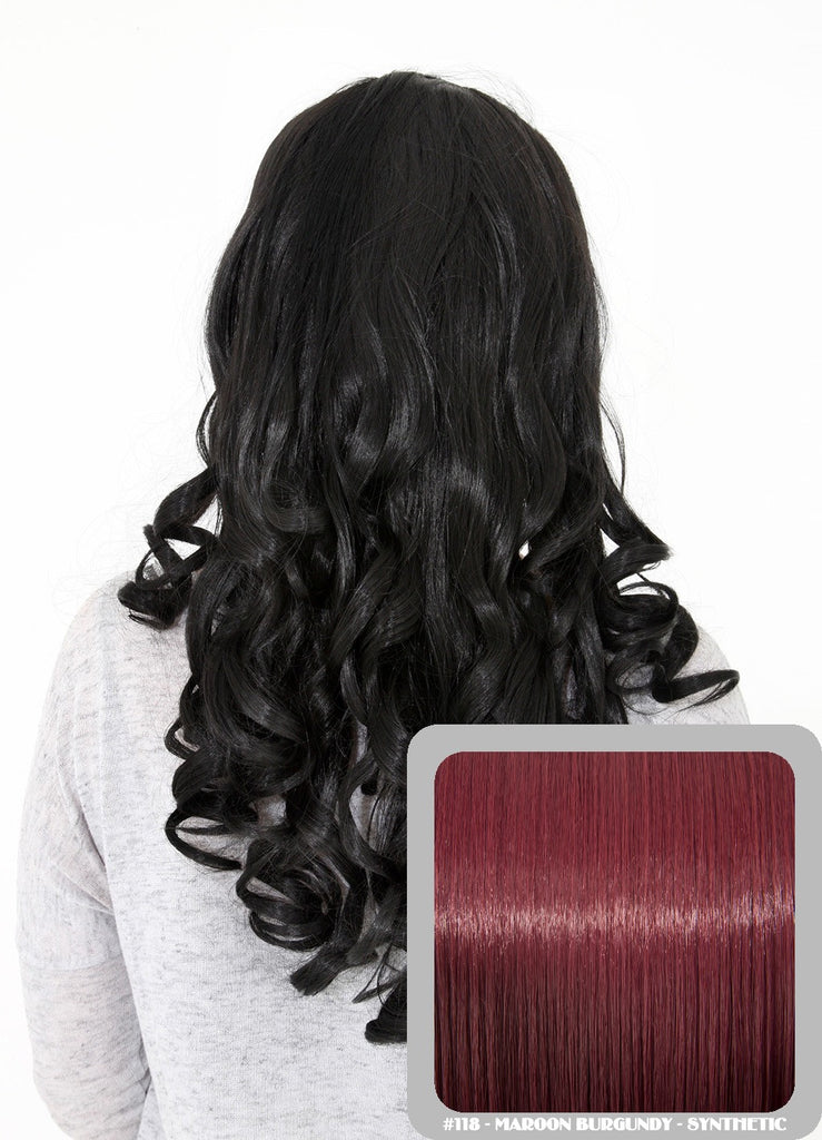 "Ruby 20"" Curly Half Head Synthetic Wig in Burgundy #118"