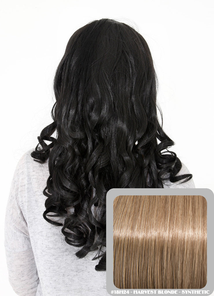 "Ruby 20"" Curly Half Head Synthetic Wig in Harvest Blonde #18H24"