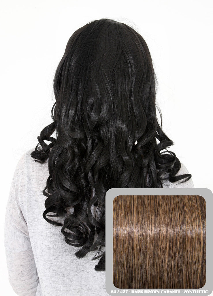 "Ruby 20"" Curly Half Head Synthetic Wig in Dark Brown & Caramel #4/27"