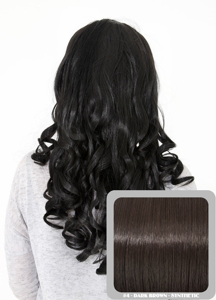 "Ruby 20"" Curly Half Head Synthetic Wig in Dark Brown #4"