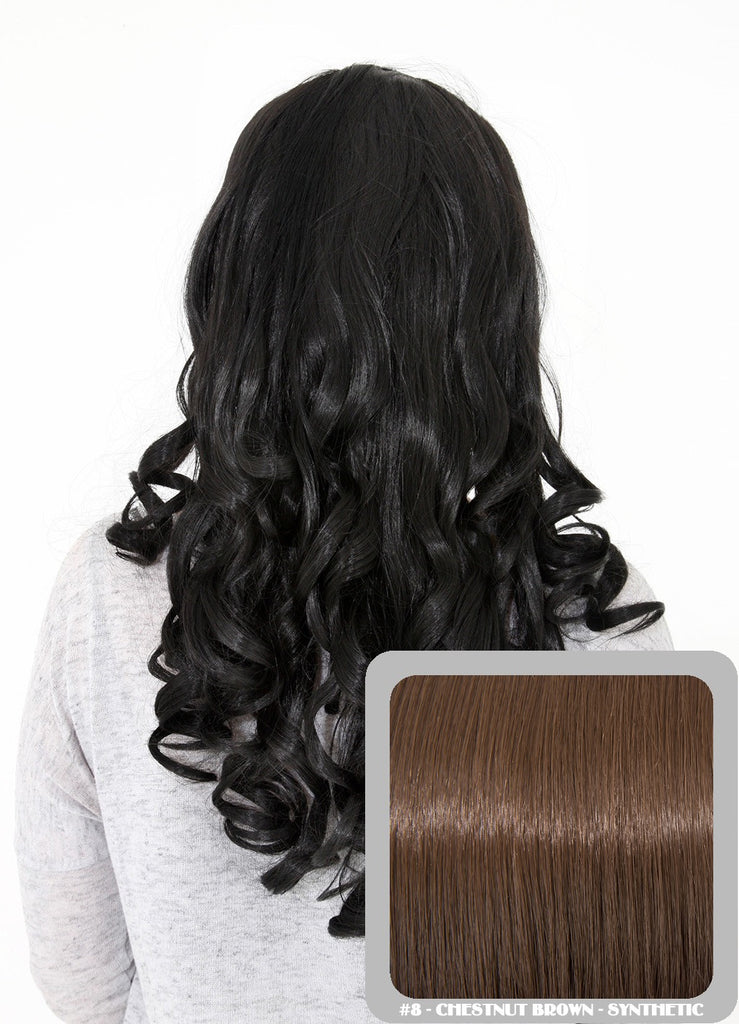 "Ruby 20"" Curly Half Head Synthetic Wig in Chestnut Brown #8"