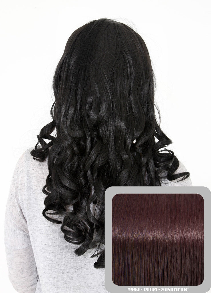 "Ruby 20"" Curly Half Head Synthetic Wig in Plum #99J"