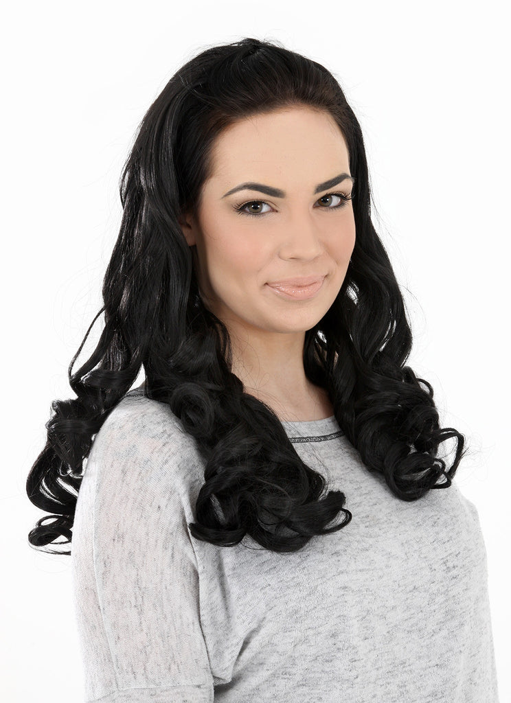 "Ruby 20"" Curly Half Head Synthetic Wig in Natural Black #1B"