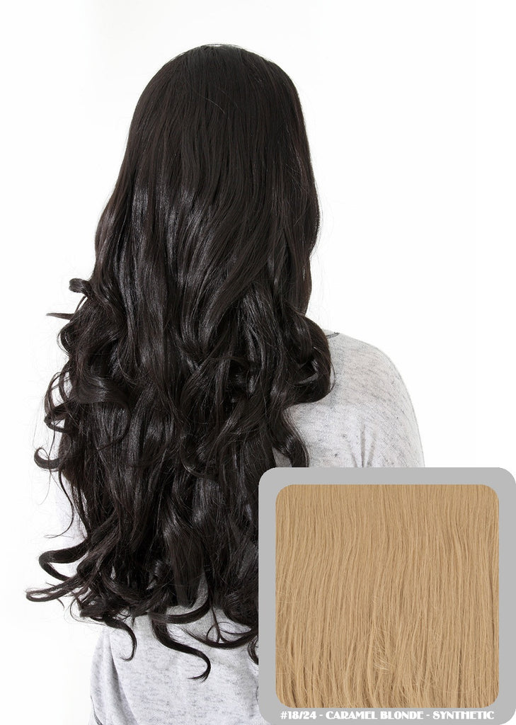 "Eva 24"" Long Loose Curls Half Head Wig in Caramel Blonde #18/24"