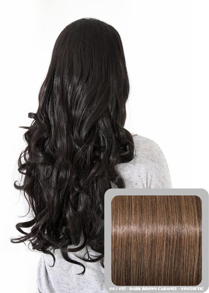 "Eva 24"" Long Loose Curls Half Head Wig in Dark Brown & Caramel #4/27"