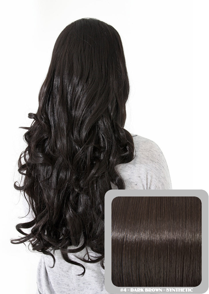 "Eva 24"" Long Loose Curls Half Head Wig in Dark Brown #4"