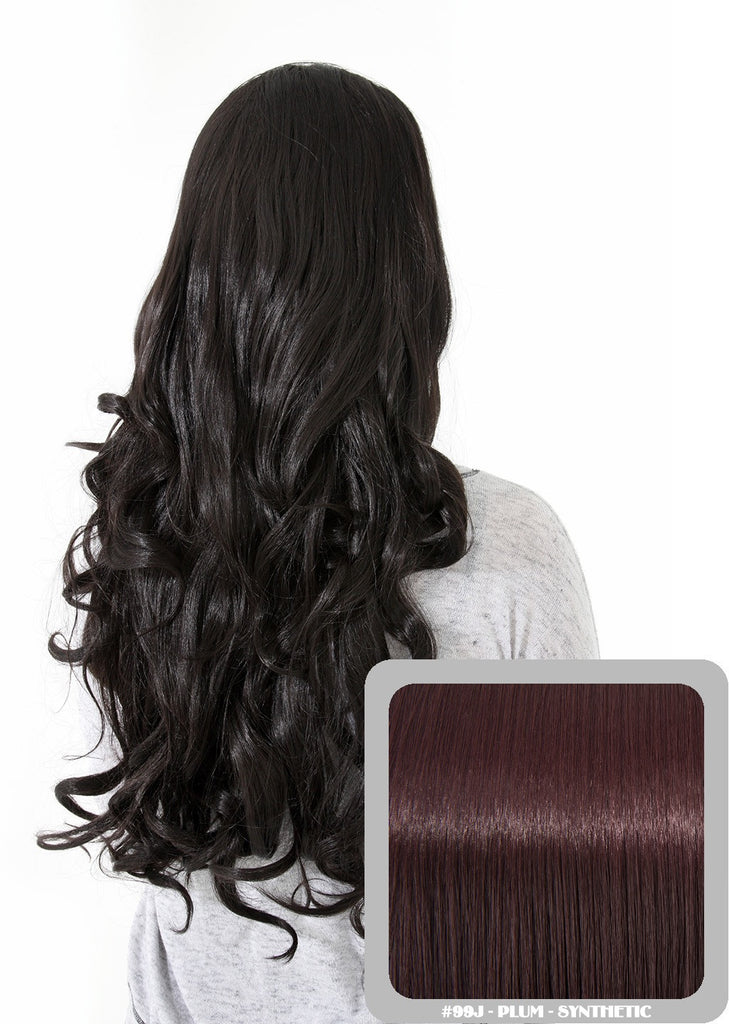 "Eva 24"" Long Loose Curls Half Head Wig in Plum #99J"