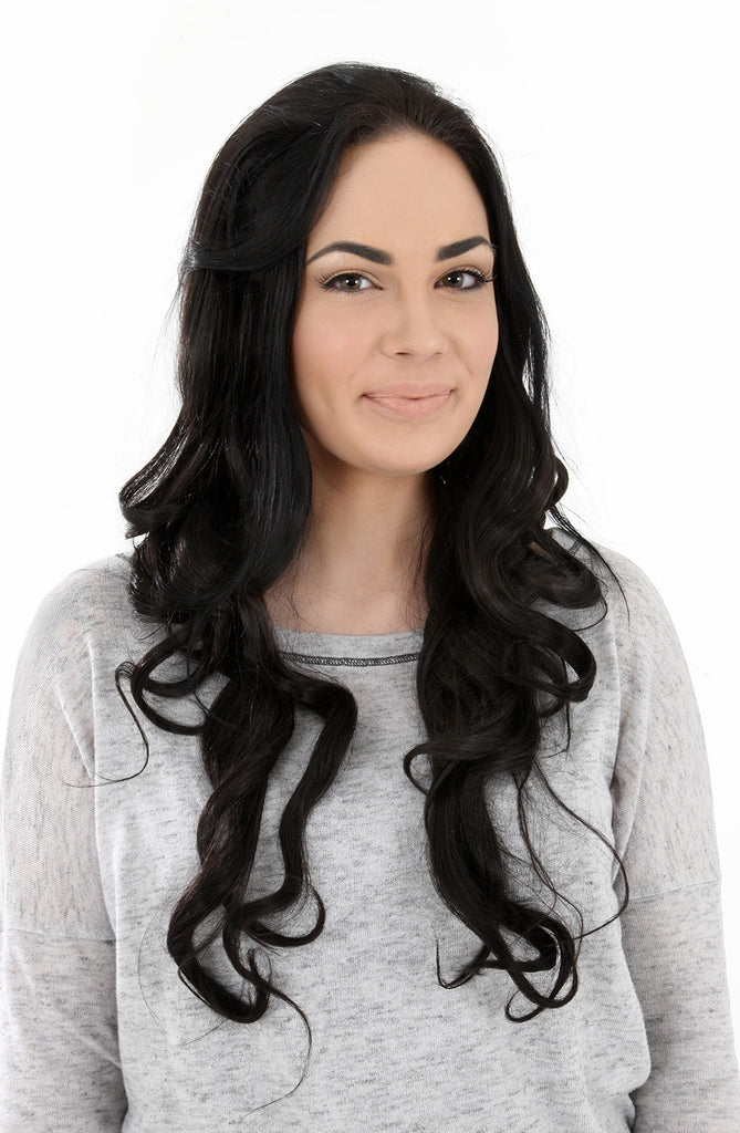 "Eva 24"" Long Loose Curls Half Head Wig in Darkest Brown #2"