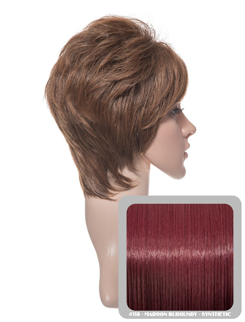 Lola Short Cropped Full Head Synthetic Wig in Burgundy #118