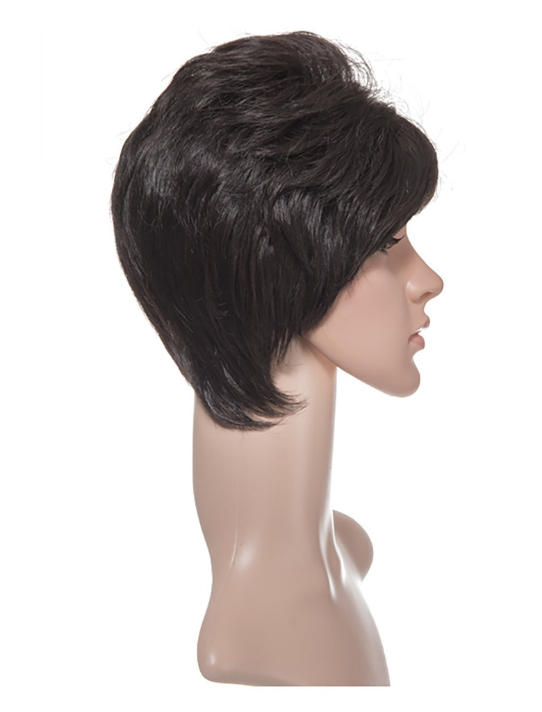Lola Short Cropped Full Head Synthetic Wig in Dark Brown #4