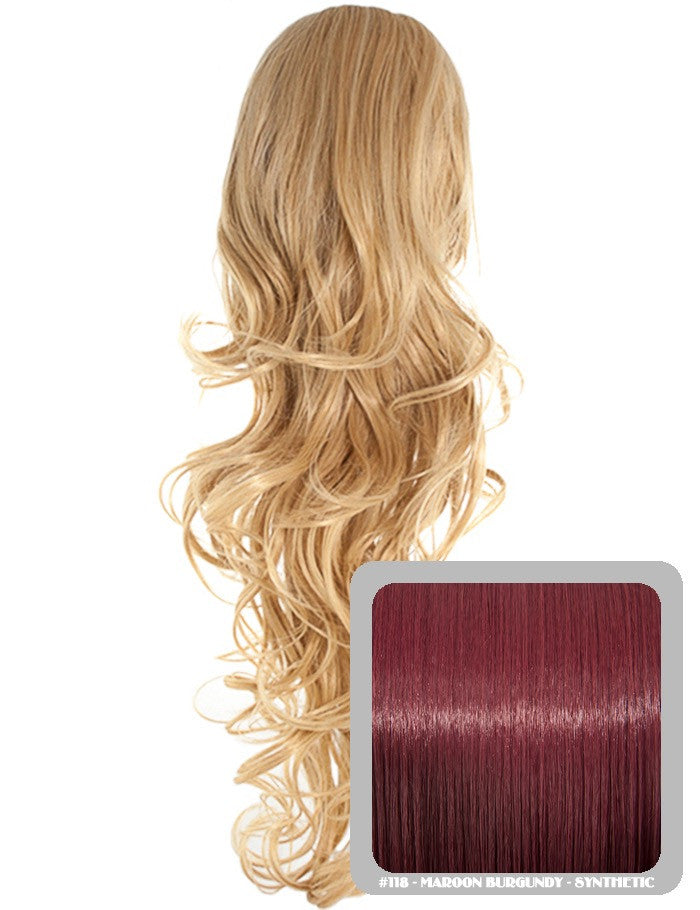 Long Curly Drawstring Synthetic Ponytail in Burgundy #118