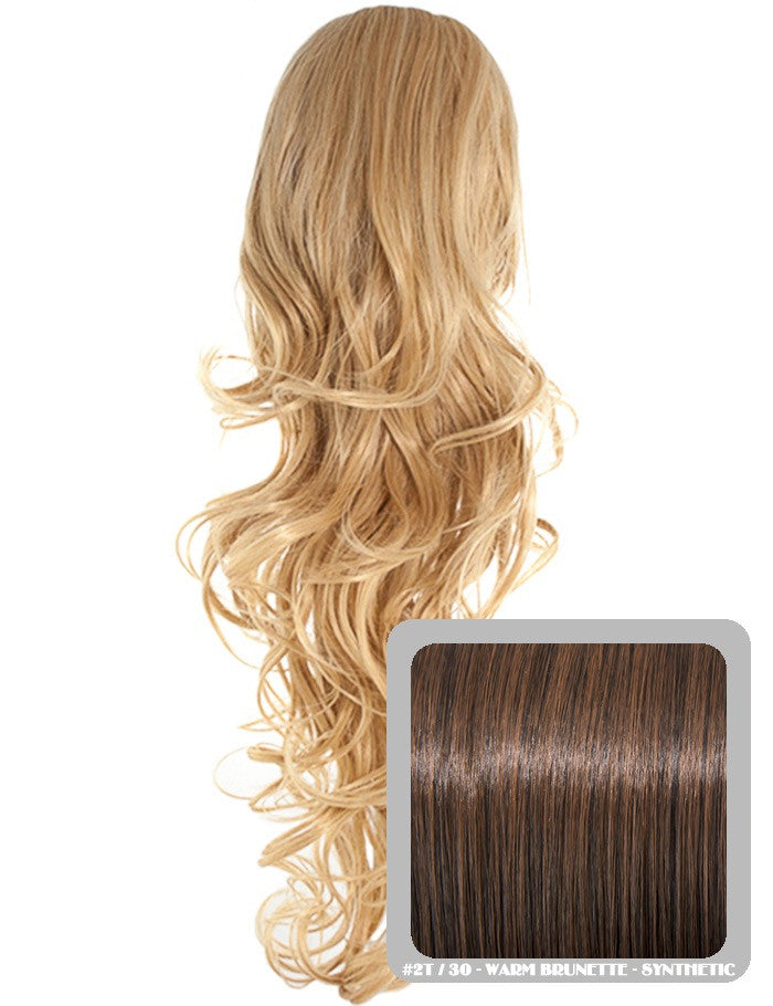 Long Curly Drawstring Synthetic Ponytail in Warm Brunette #2/30