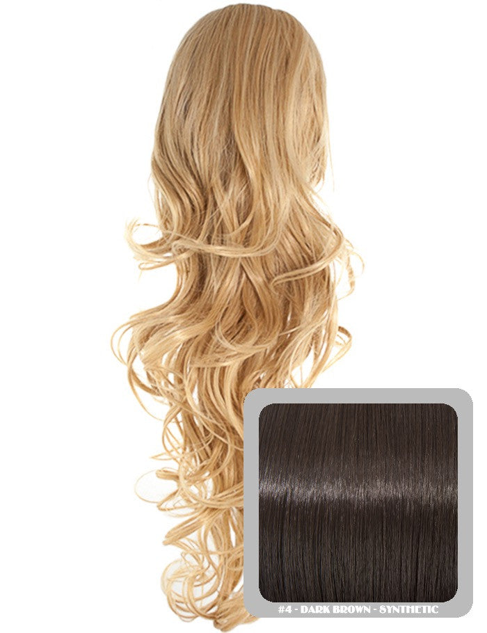 Long Curly Drawstring Synthetic Ponytail in Dark Brown #4