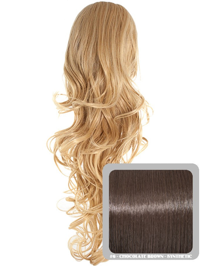 Long Curly Drawstring Synthetic Ponytail in Chocolate Brown #6