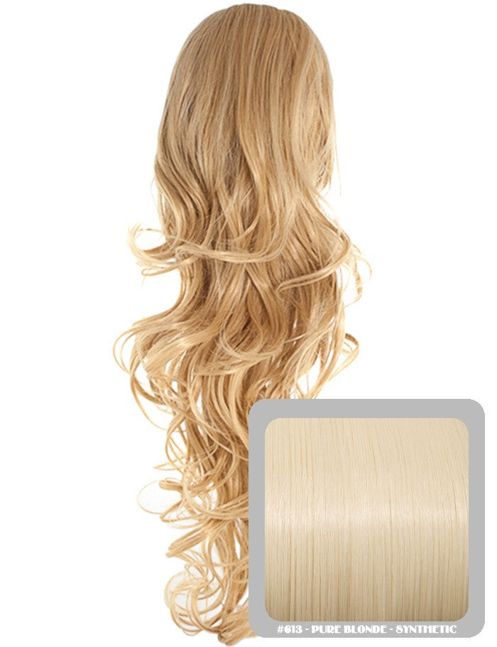 Long Curly Drawstring Synthetic Ponytail in Pure Blonde #613