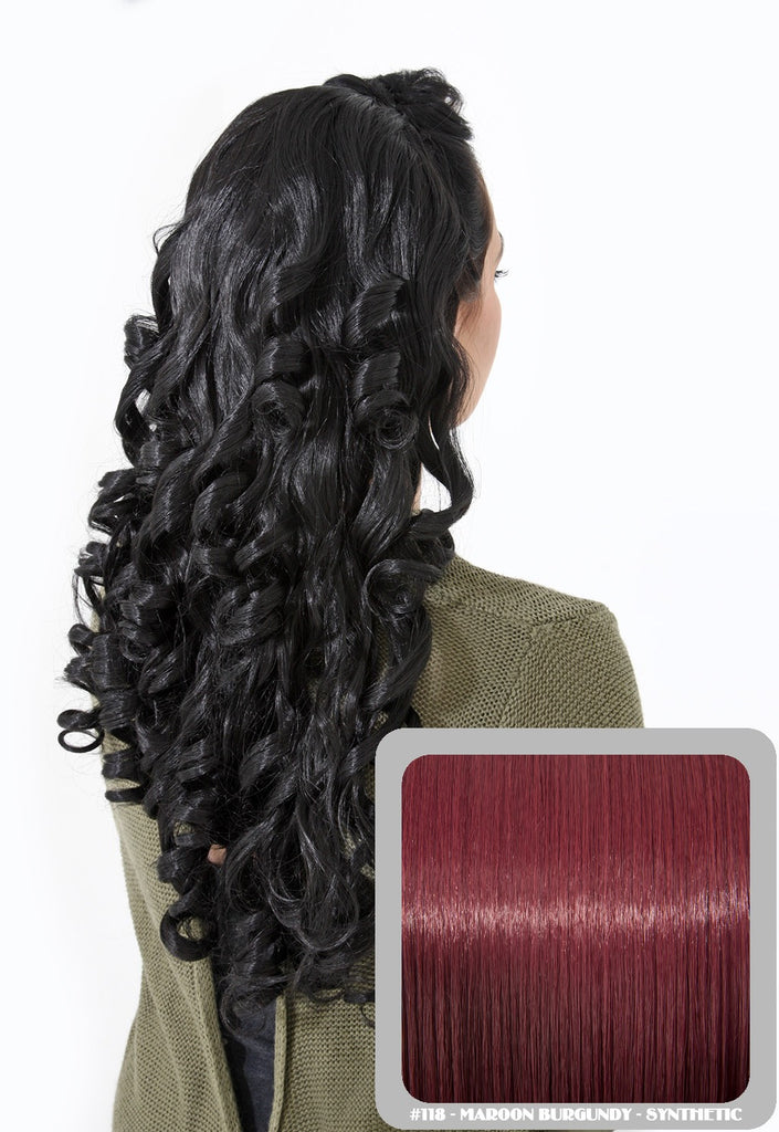 "Alice 22"" Long Fancy Curls Half Head Wig in Burgundy #118"