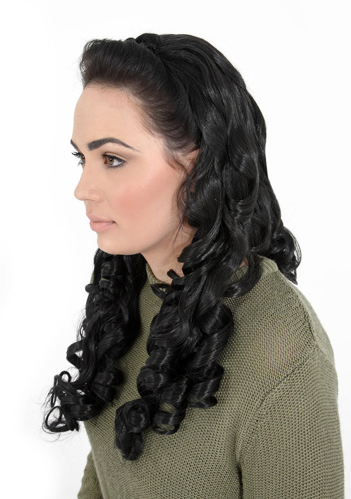 "Alice 22"" Long Fancy Curls Half Head Wig in Jet Black #1"