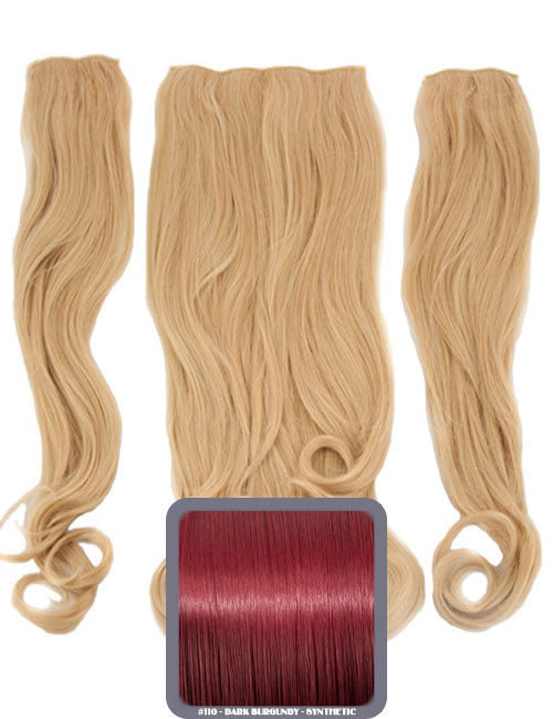 Half Head Curly Heat Resistant Synthetic Hair Extensions In Dark Burgundy #110