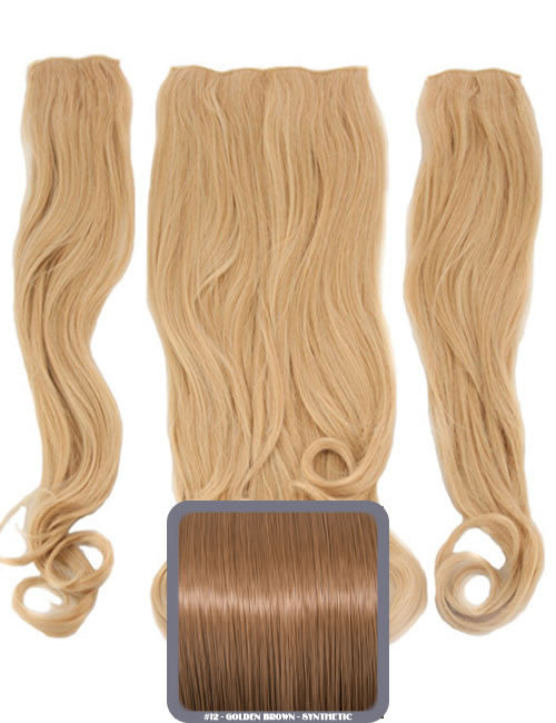 Half Head Curly Heat Resistant Synthetic Hair Extensions In Golden Brown #12