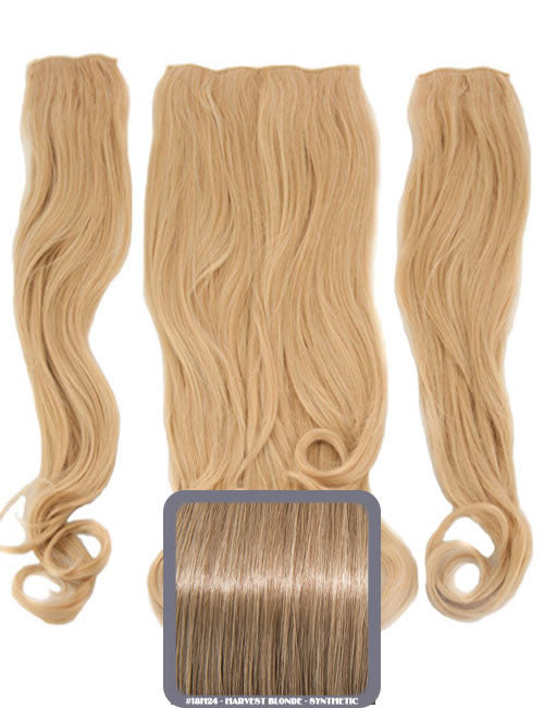 Half Head Curly Heat Resistant Synthetic Hair Extensions In Harvest Blonde #18H24
