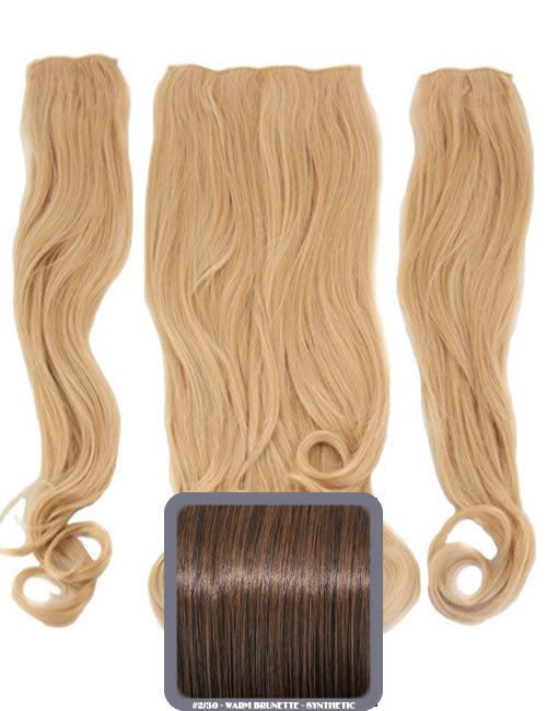 Half Head Curly Heat Resistant Synthetic Hair Extensions In Warm Brunette #2/30