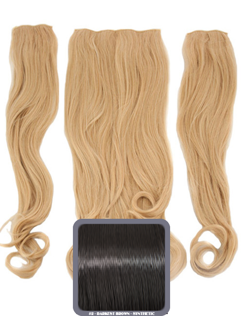 Half Head Curly Heat Resistant Synthetic Hair Extensions In Darkest Brown #2