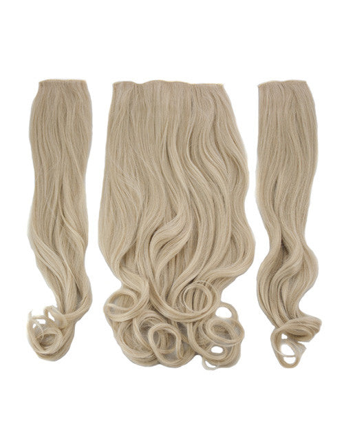 Half Head Curly Heat Resistant Synthetic Hair Extensions In Light Golden Blonde #24/613