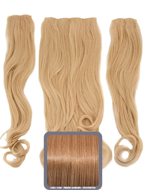 Half head curly heat resistant extension mixed auburn half head curly heat resistant synthetic hair extensions in mixed auburn 26 30 pmusecretfo Images