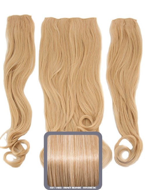 Half Head Curly Heat Resistant Synthetic Hair Extensions In Honey Blonde #27/613