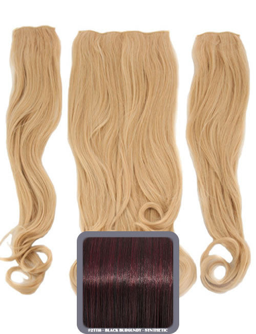 Half Head Curly Heat Resistant Synthetic Hair Extensions In Burgundy #118