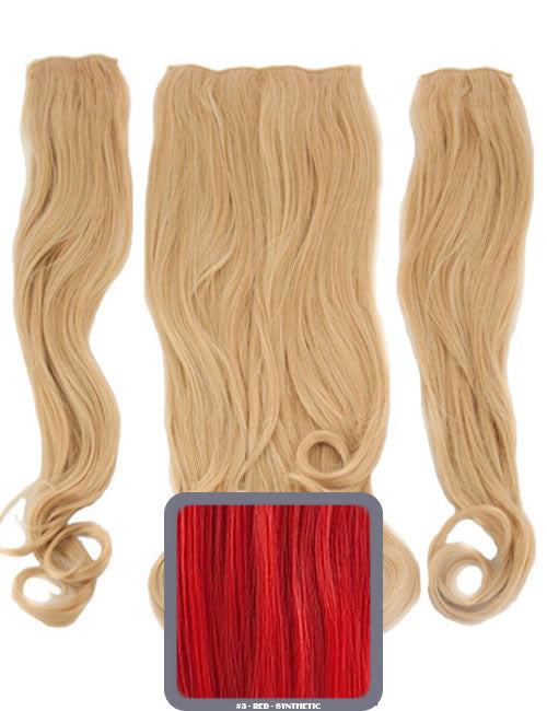 Half Head Curly Heat Resistant Synthetic Hair Extensions In Red