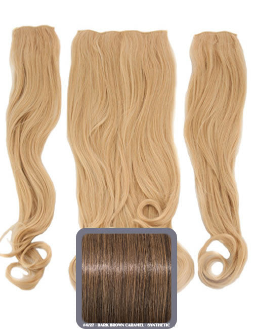 Half Head Curly Heat Resistant Synthetic Hair Extensions In Dark Brown & Caramel #4/27