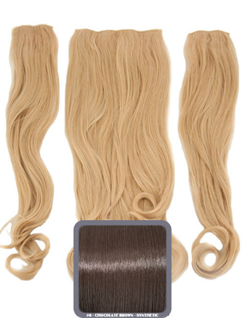 Half Head Curly Heat Resistant Synthetic Hair Extensions In Chocolate Brown #6