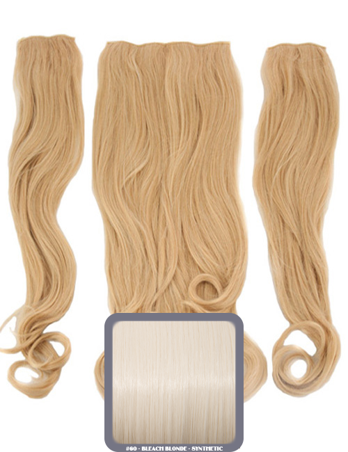 Half Head Curly Heat Resistant Synthetic Hair Extensions In Bleach Blonde #60