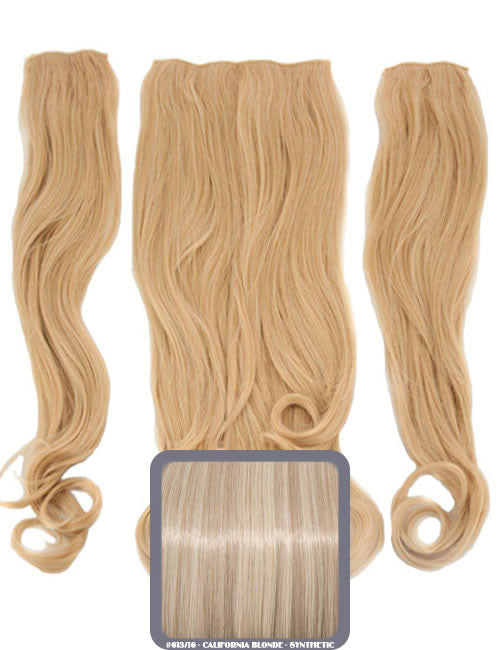 Half Head Curly Heat Resistant Synthetic Hair Extensions In California Blonde #613/16