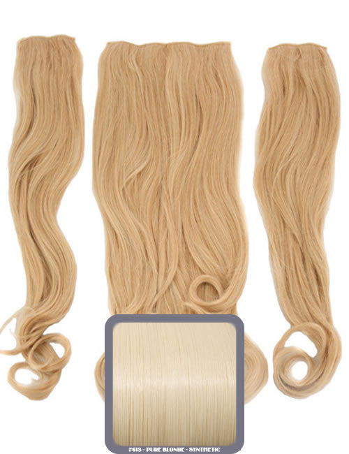 Half Head Curly Heat Resistant Synthetic Hair Extensions In Pure Blonde #613