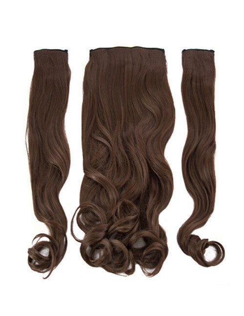 Half Head Curly Heat Resistant Synthetic Hair Extensions In Chestnut Brown #8