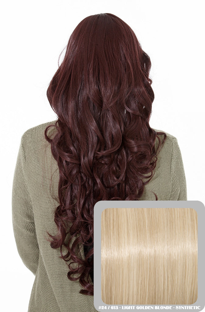 Olivia Long Curly Full Head Synthetic Wig in Light Golden Blonde #24/613