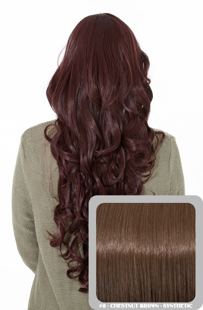 Olivia Long Curly Full Head Synthetic Wig in Chestnut Brown #8