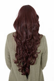 Olivia Long Curly Full Head Synthetic Wig in Plum #99J - Dolled Up Hair Extensions - 1