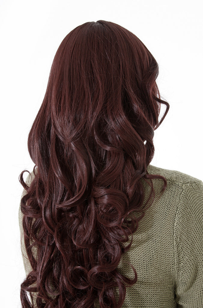 Olivia Long Curly Full Head Synthetic Wig in Burgundy #118