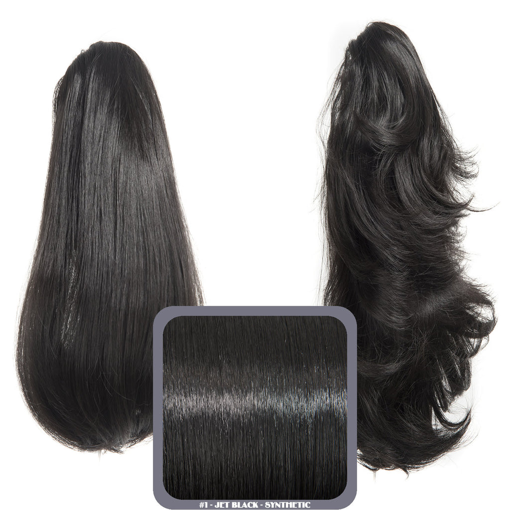 Pearl Mid Length 2-Way Reversible Synthetic Ponytail in #1 Jet Black