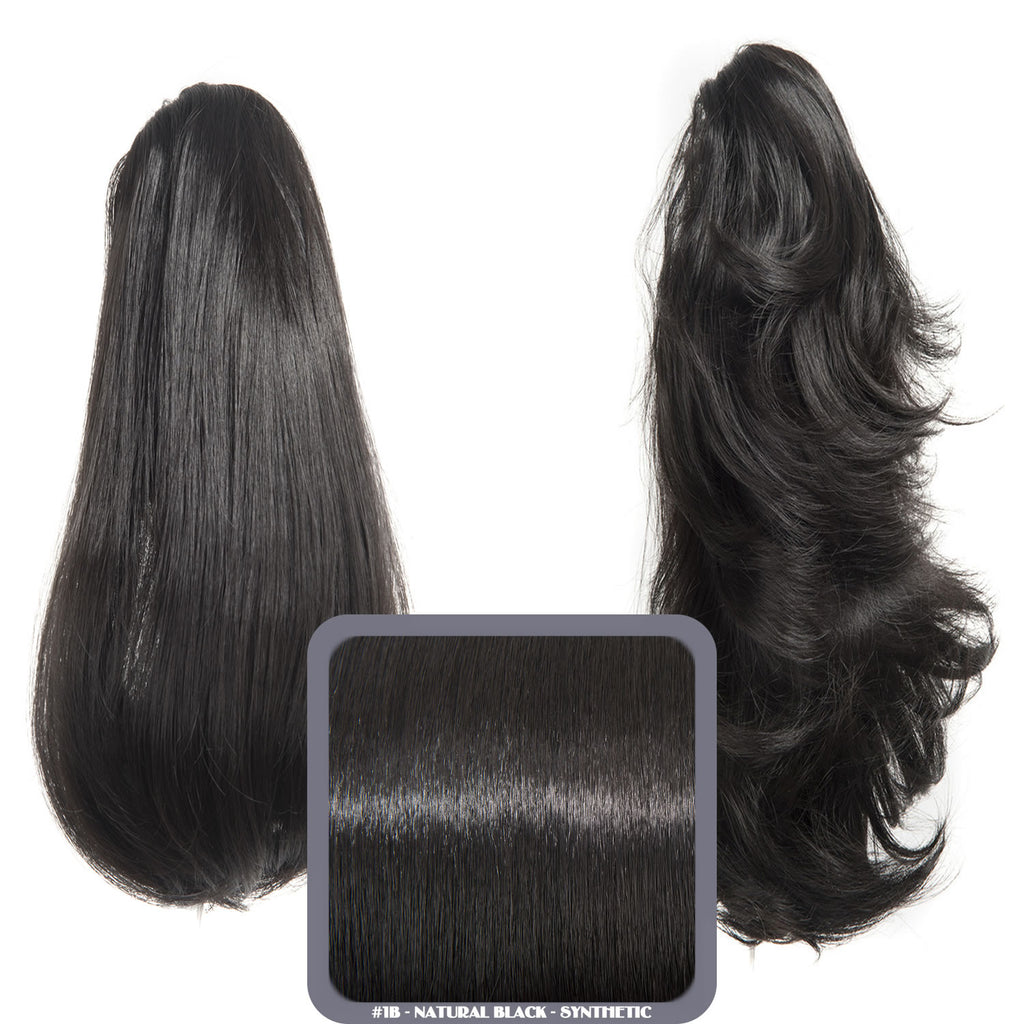 Pearl Mid Length 2-Way Reversible Synthetic Ponytail in #1B Natural Black