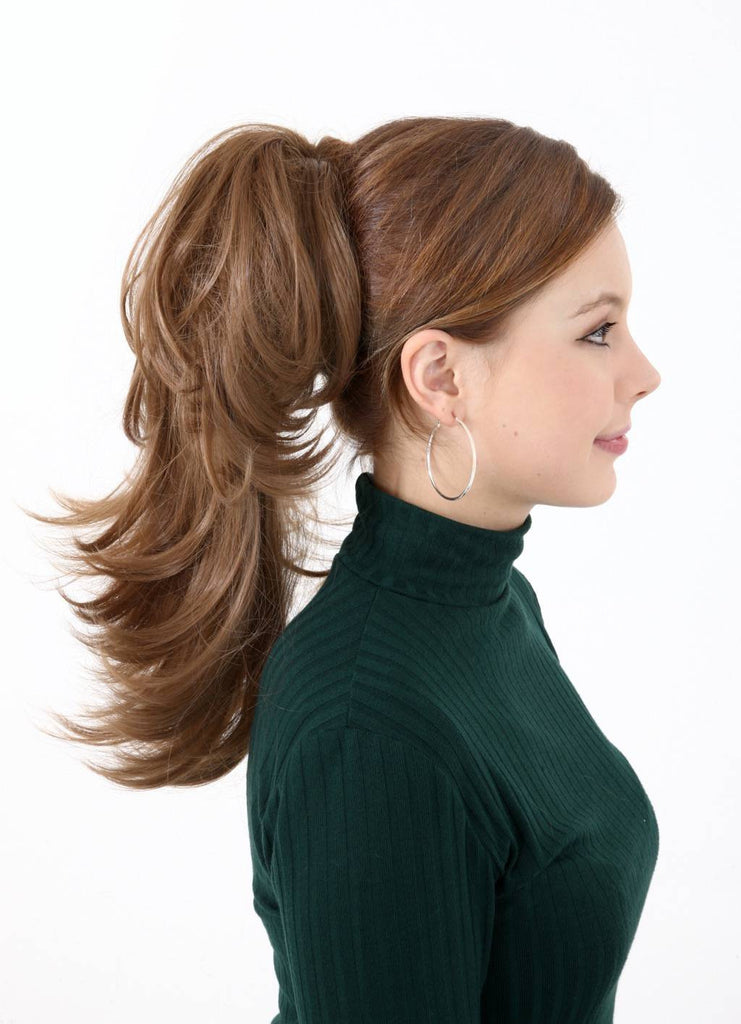 Pearl Mid Length 2-Way Reversible Synthetic Ponytail in #4/27 Dark Brown & Caramel